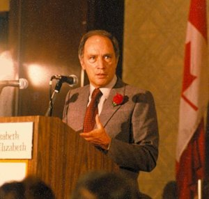 Pierre Trudeau speaks in Montreal in 1980.